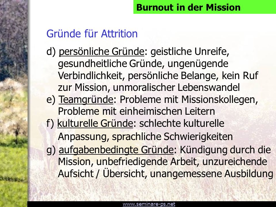 Burnout in der Mission Gründe für Attrition.