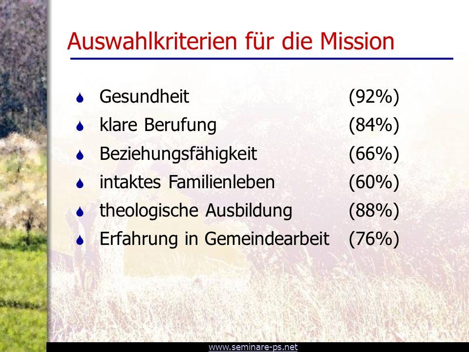 Auswahlkriterien für die Mission