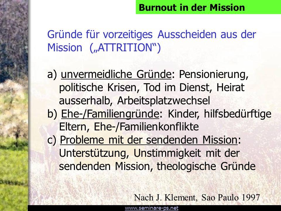 """Gründe für vorzeitiges Ausscheiden aus der Mission (""""ATTRITION )"""