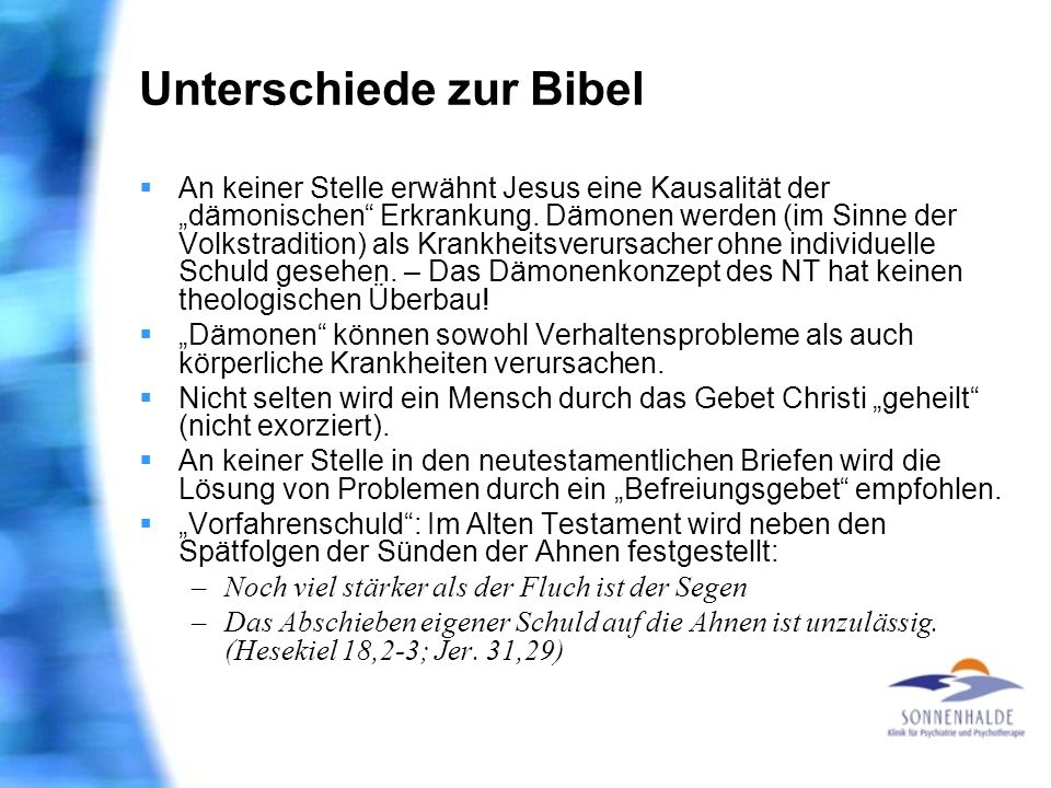 Unterschiede zur Bibel