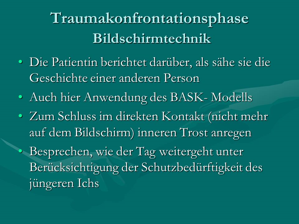 Traumakonfrontationsphase Bildschirmtechnik
