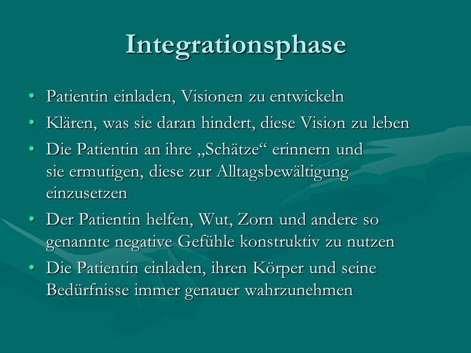 Integrationsphase Patientin einladen, Visionen zu entwickeln