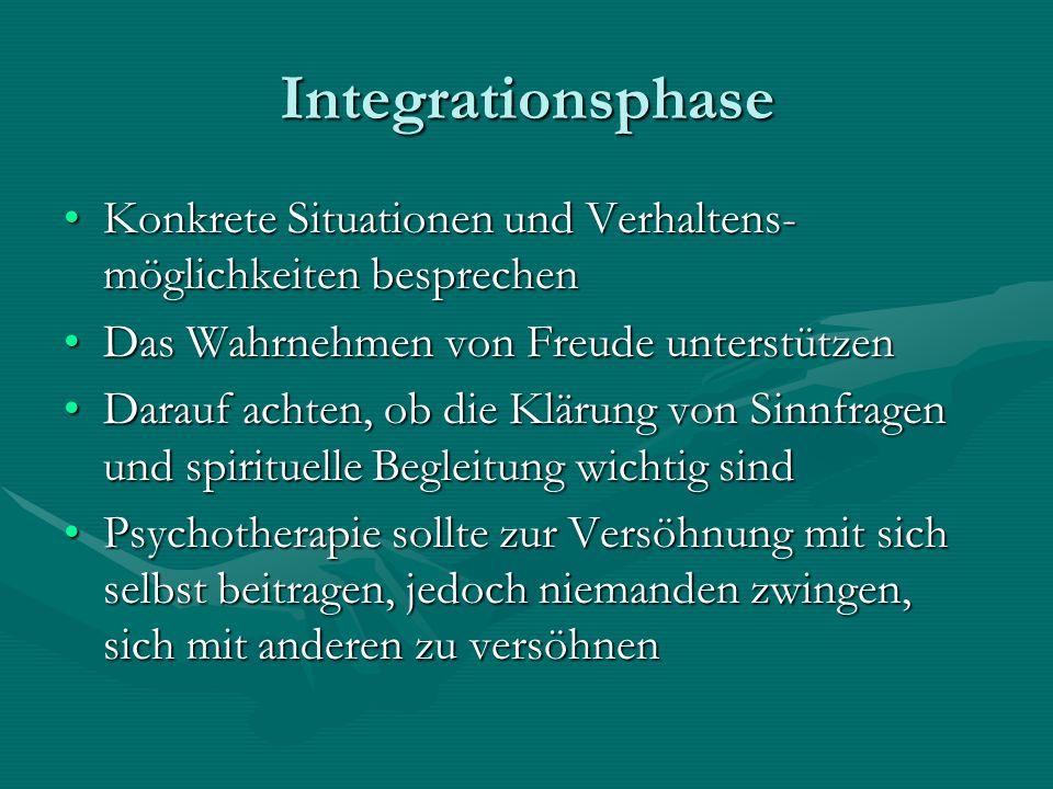 Integrationsphase Konkrete Situationen und Verhaltens- möglichkeiten besprechen. Das Wahrnehmen von Freude unterstützen.