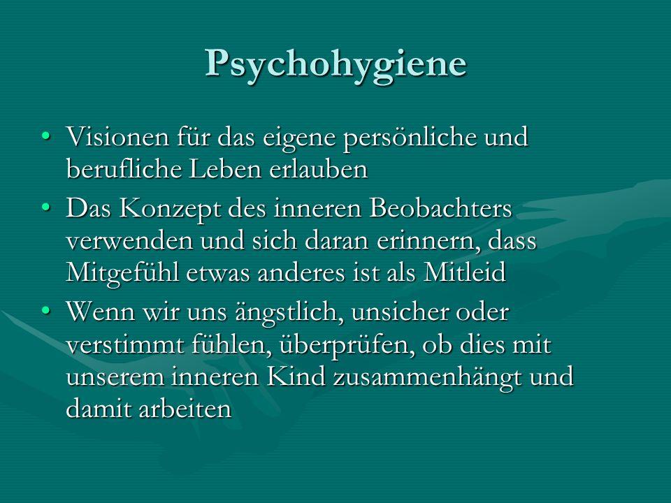 Psychohygiene Visionen für das eigene persönliche und berufliche Leben erlauben.