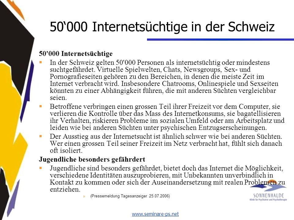50'000 Internetsüchtige in der Schweiz