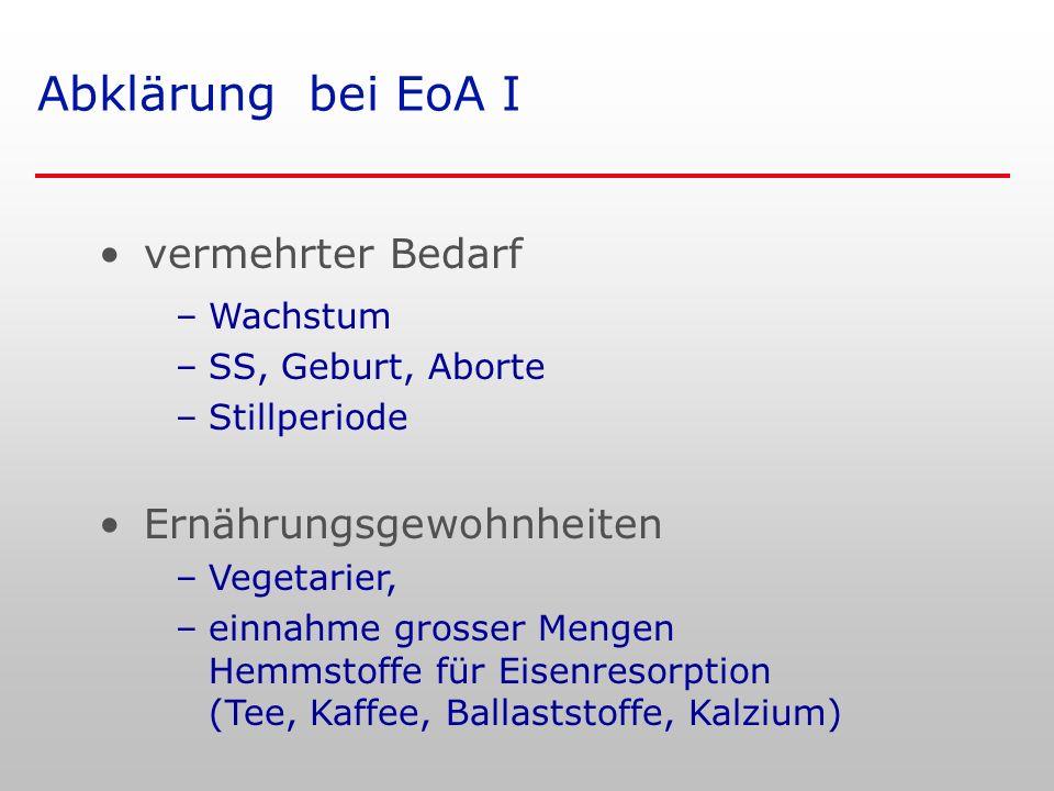 Abklärung bei EoA I vermehrter Bedarf Ernährungsgewohnheiten Wachstum