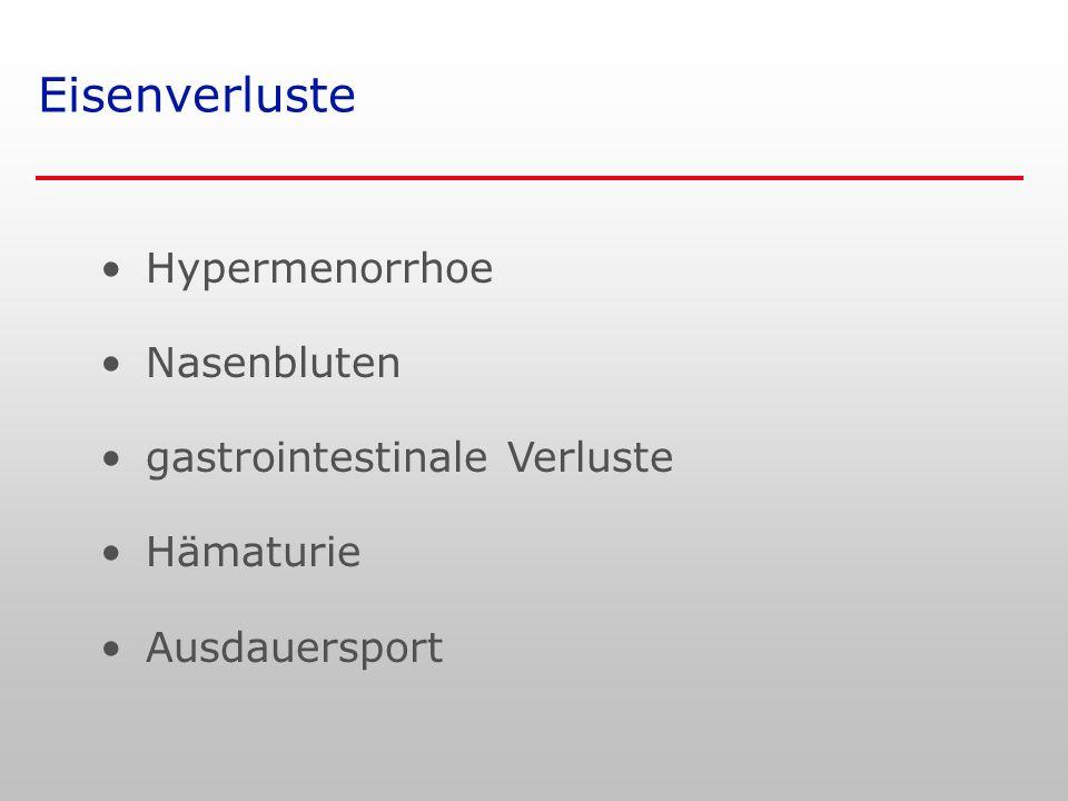 Eisenverluste Hypermenorrhoe Nasenbluten gastrointestinale Verluste