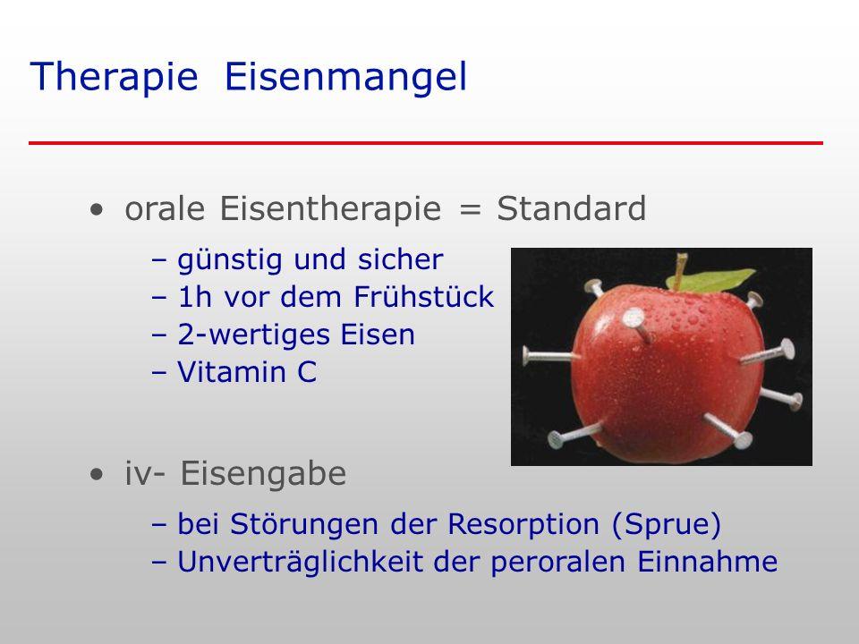 Therapie Eisenmangel orale Eisentherapie = Standard iv- Eisengabe