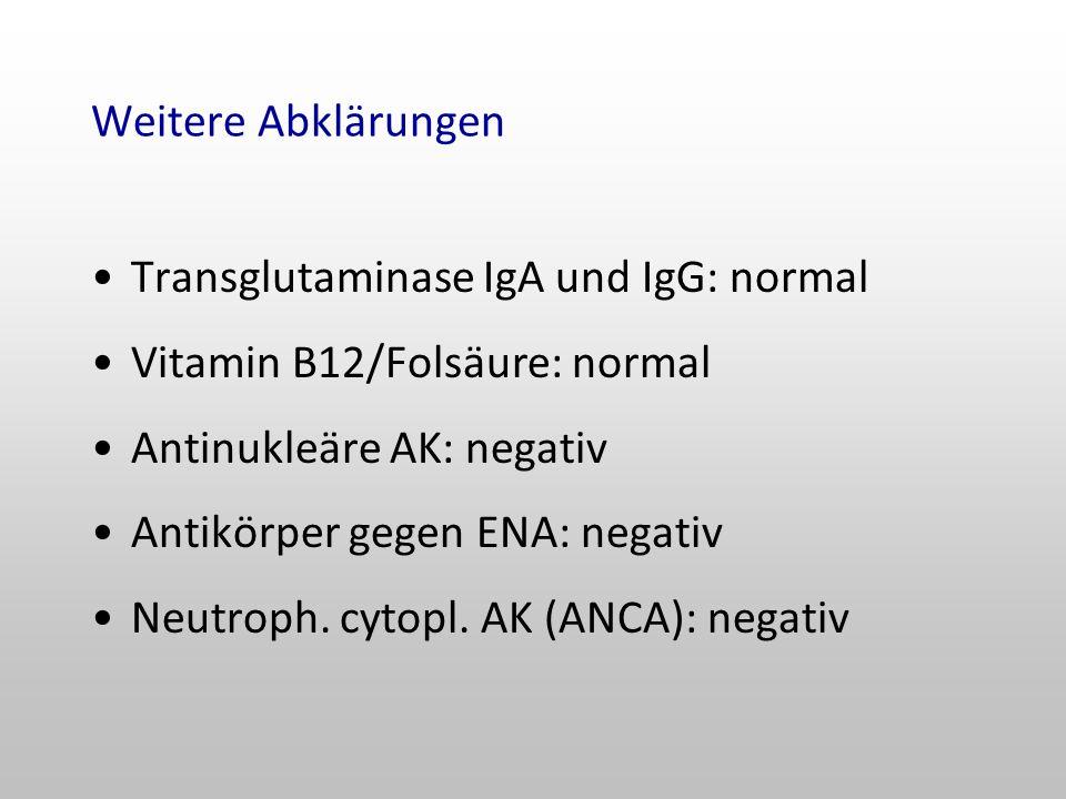 Weitere Abklärungen Transglutaminase IgA und IgG: normal. Vitamin B12/Folsäure: normal. Antinukleäre AK: negativ.