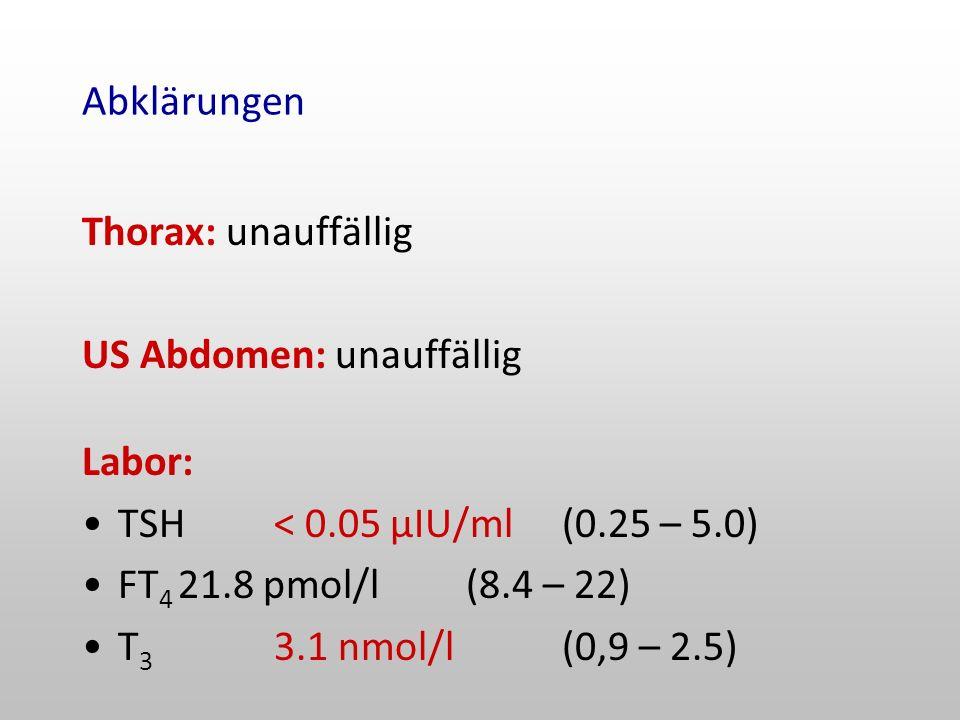 Abklärungen Thorax: unauffällig. US Abdomen: unauffällig. Labor: TSH < 0.05 µIU/ml (0.25 – 5.0) FT4 21.8 pmol/l (8.4 – 22)