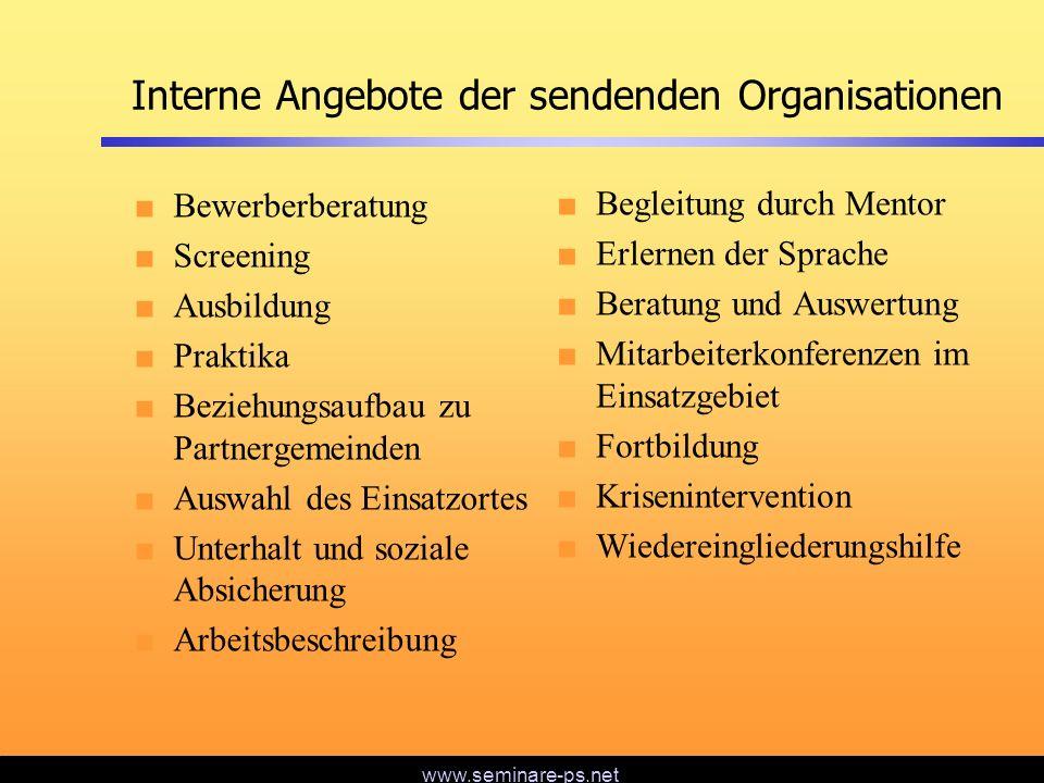 Interne Angebote der sendenden Organisationen