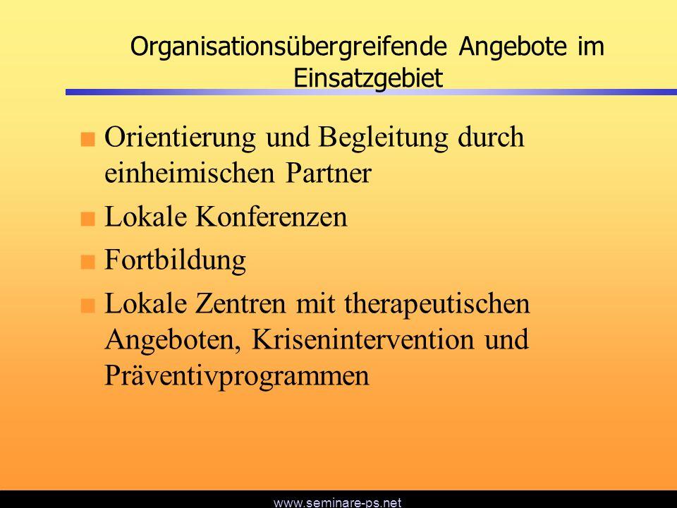 Organisationsübergreifende Angebote im Einsatzgebiet