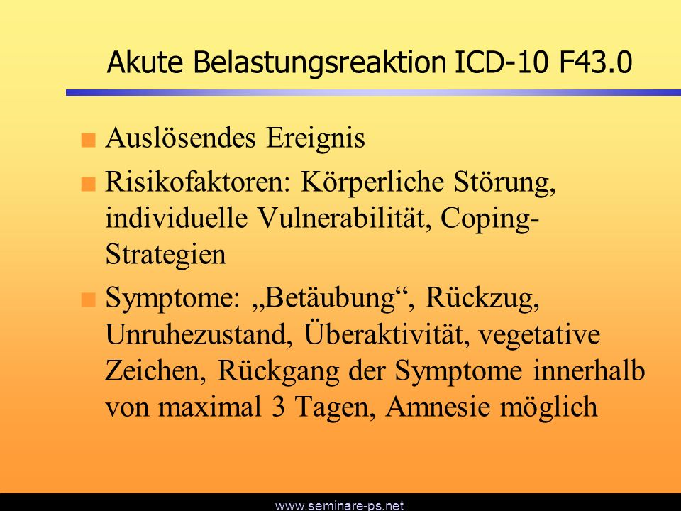 Akute Belastungsreaktion ICD-10 F43.0