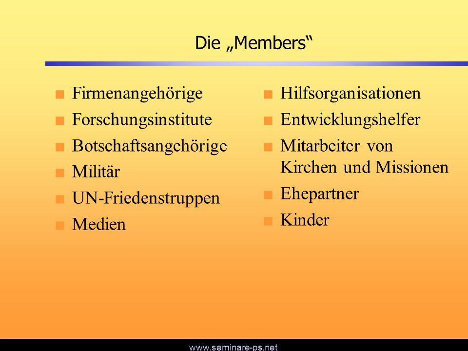 """Die """"Members Firmenangehörige. Forschungsinstitute. Botschaftsangehörige. Militär. UN-Friedenstruppen."""