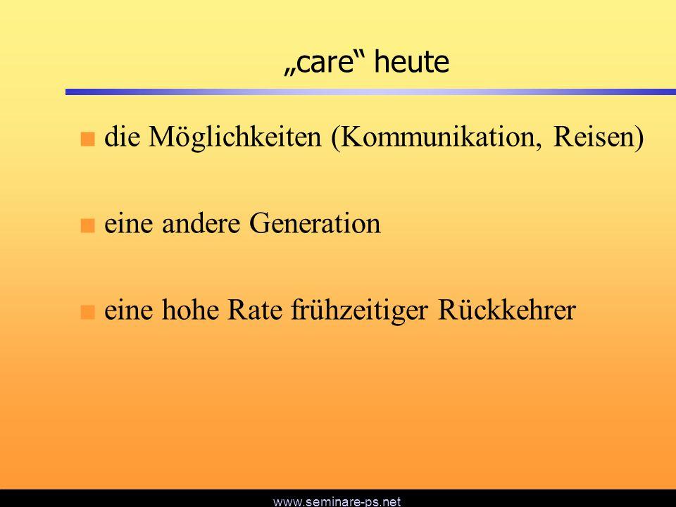 """""""care heute die Möglichkeiten (Kommunikation, Reisen) eine andere Generation."""