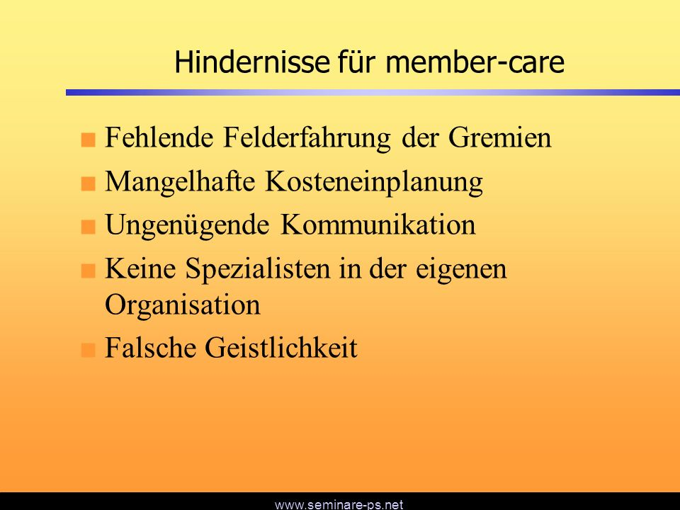 Hindernisse für member-care