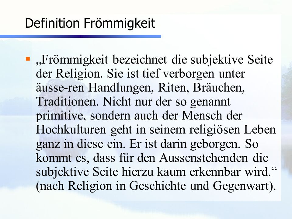 Definition Frömmigkeit