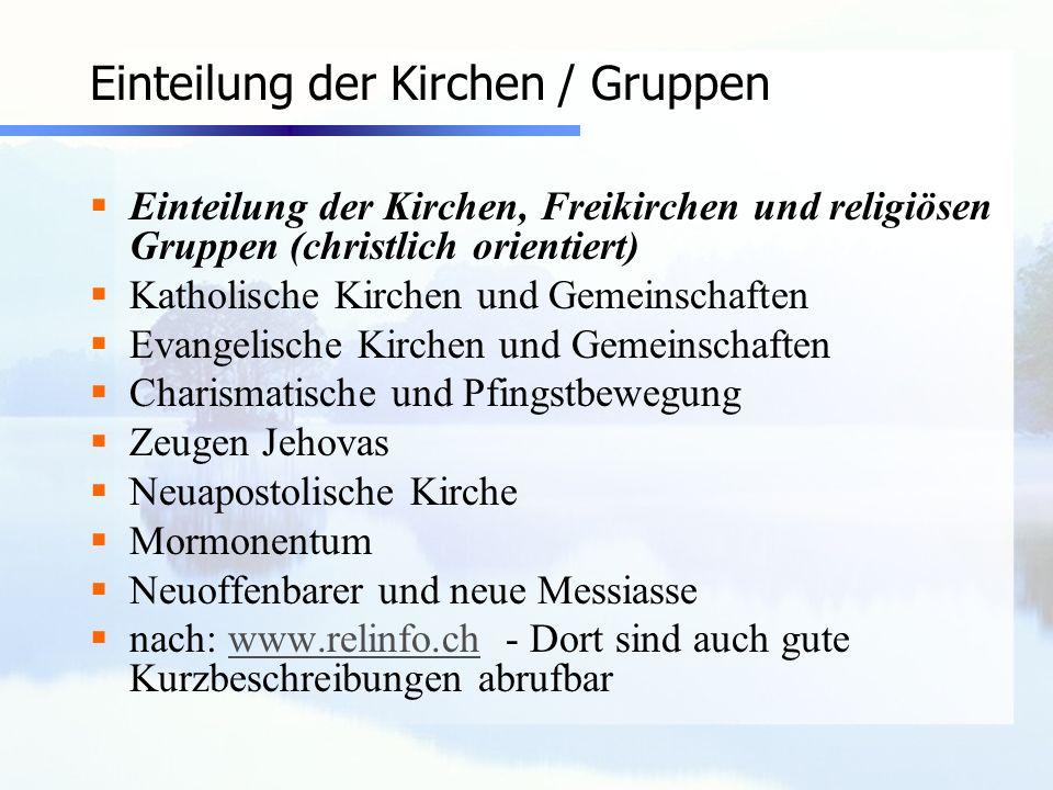 Einteilung der Kirchen / Gruppen