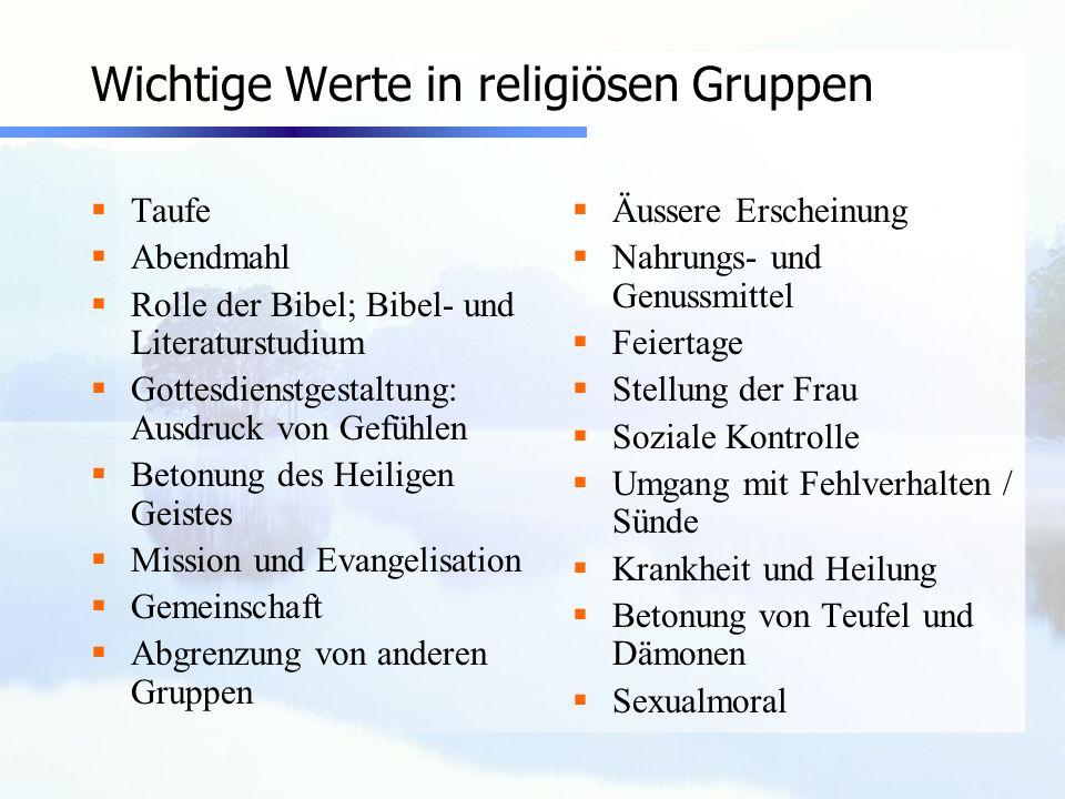 Wichtige Werte in religiösen Gruppen