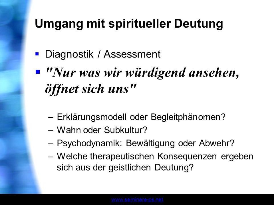 Umgang mit spiritueller Deutung