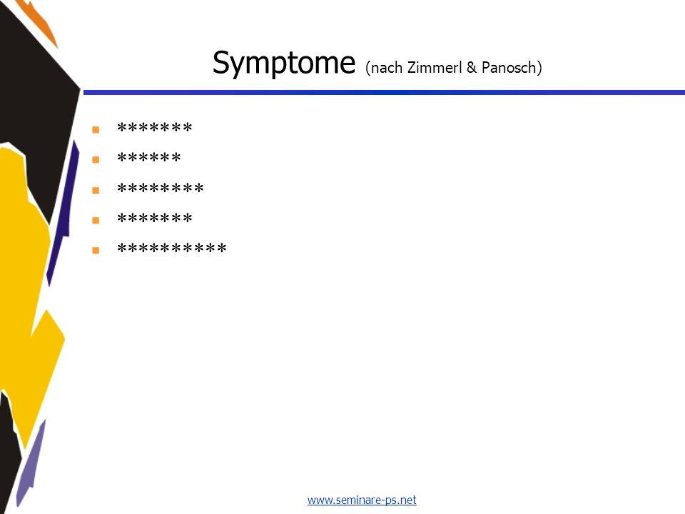 Symptome (nach Zimmerl & Panosch)