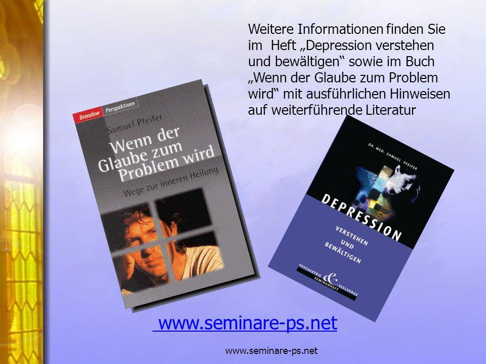 """Weitere Informationen finden Sie im Heft """"Depression verstehen und bewältigen sowie im Buch """"Wenn der Glaube zum Problem wird mit ausführlichen Hinweisen auf weiterführende Literatur"""