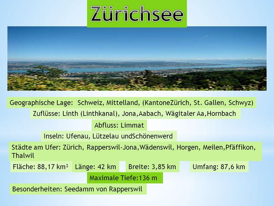 Zürichsee Geographische Lage: Schweiz, Mittelland, (KantoneZürich, St. Gallen, Schwyz)