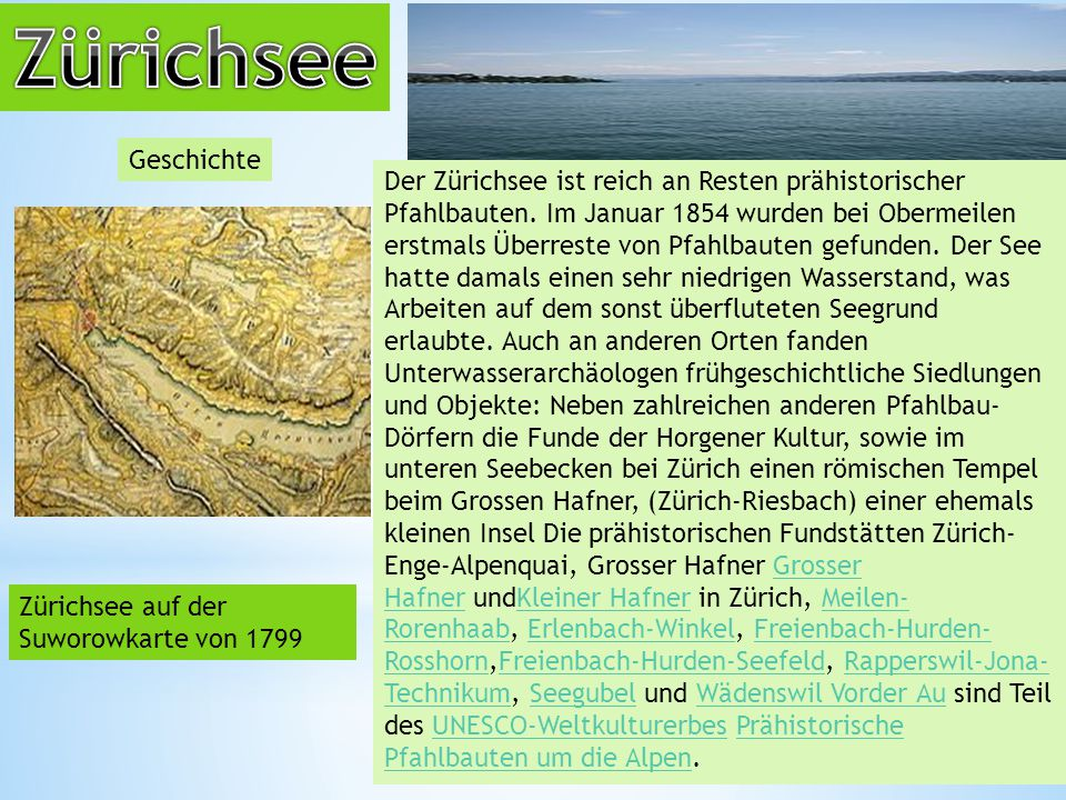Zürichsee Geschichte.