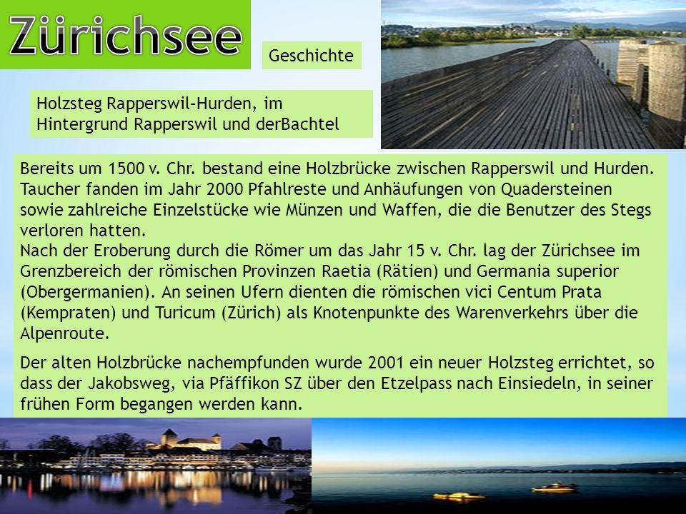 Zürichsee Geschichte. Holzsteg Rapperswil–Hurden, im Hintergrund Rapperswil und derBachtel.