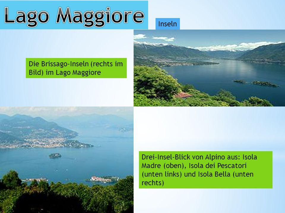Lago Maggiore Inseln. Die Brissago-Inseln (rechts im Bild) im Lago Maggiore.