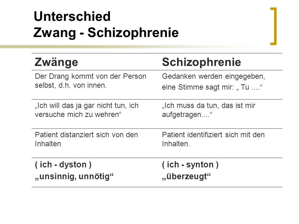 Unterschied Zwang - Schizophrenie