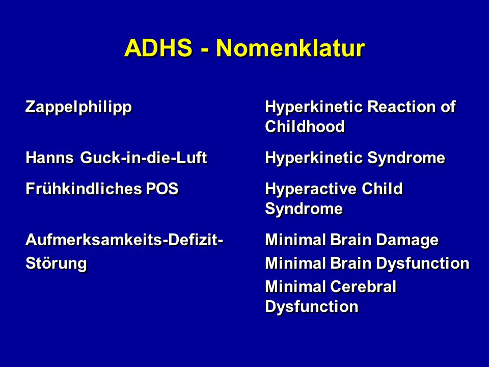 ADHS - Nomenklatur Zappelphilipp Hyperkinetic Reaction of Childhood