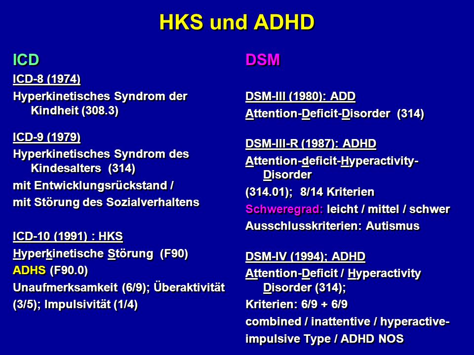 HKS und ADHD ICD DSM ICD-8 (1974)