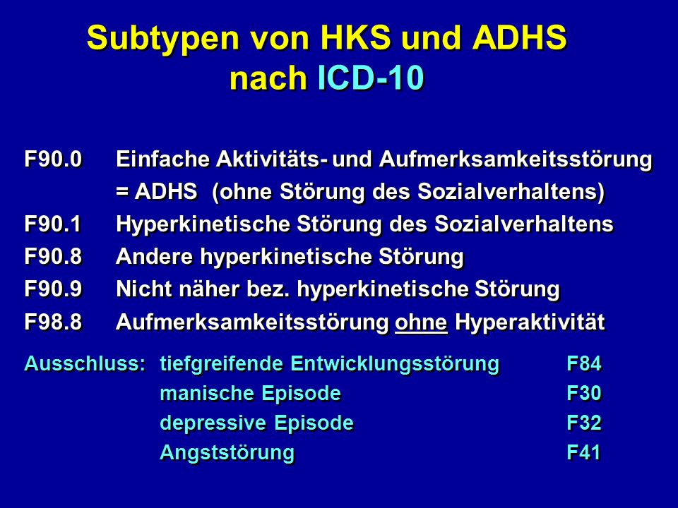 Subtypen von HKS und ADHS nach ICD-10