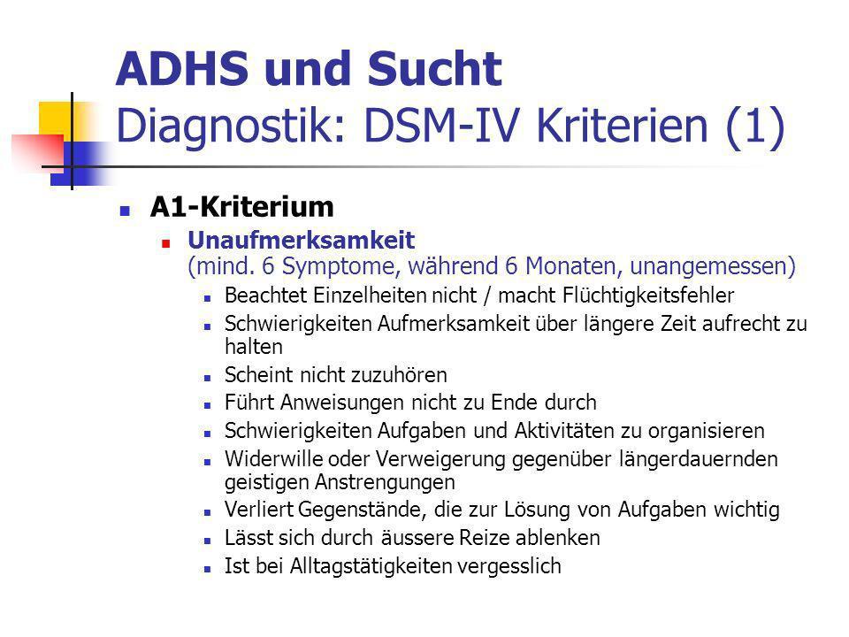 ADHS und Sucht Diagnostik: DSM-IV Kriterien (1)