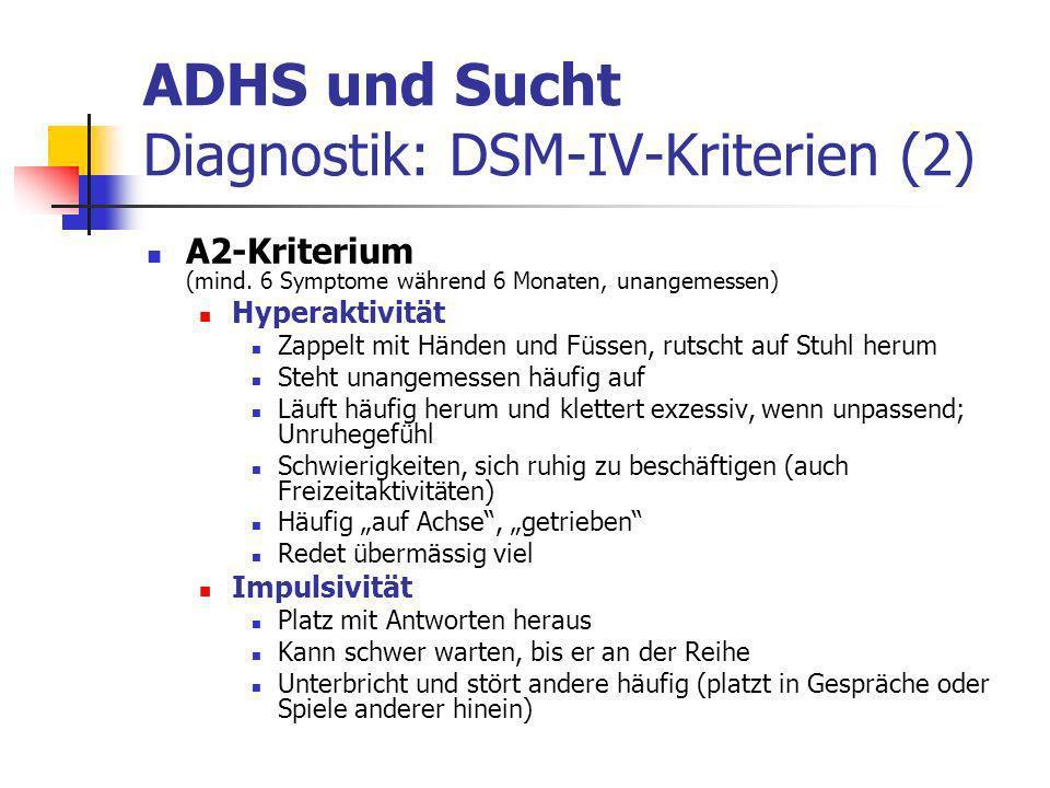 ADHS und Sucht Diagnostik: DSM-IV-Kriterien (2)