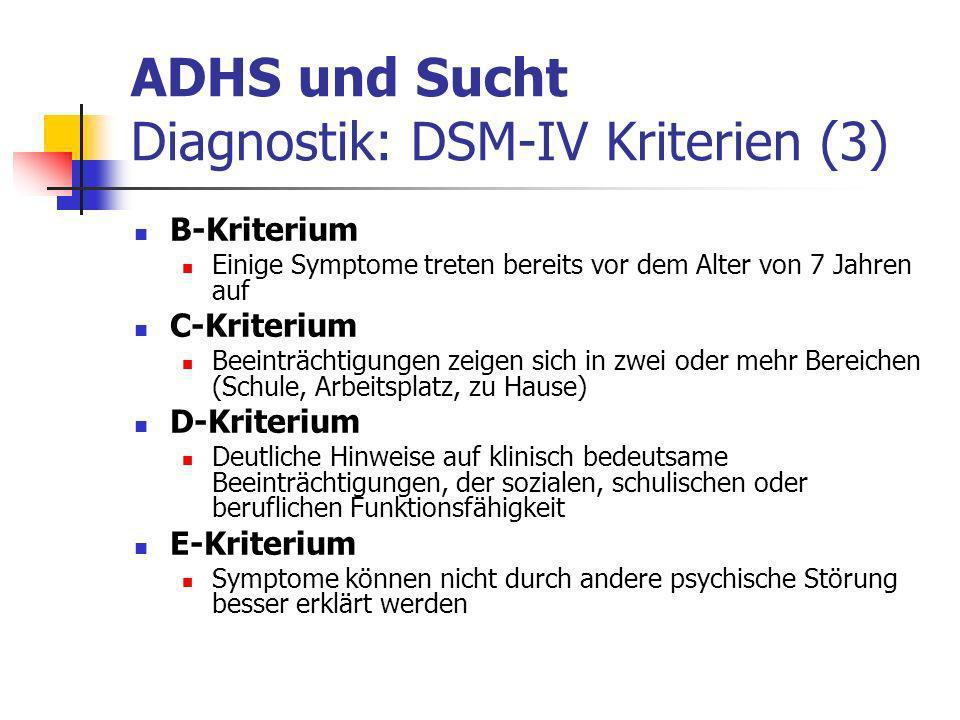 ADHS und Sucht Diagnostik: DSM-IV Kriterien (3)