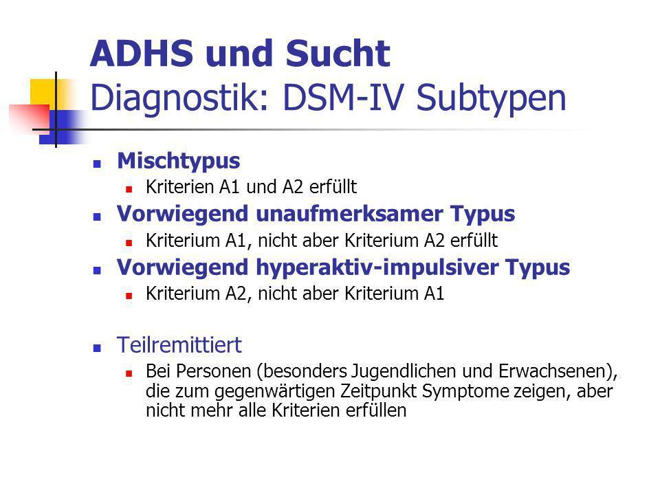 ADHS und Sucht Diagnostik: DSM-IV Subtypen