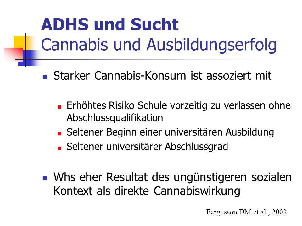 ADHS und Sucht Cannabis und Ausbildungserfolg