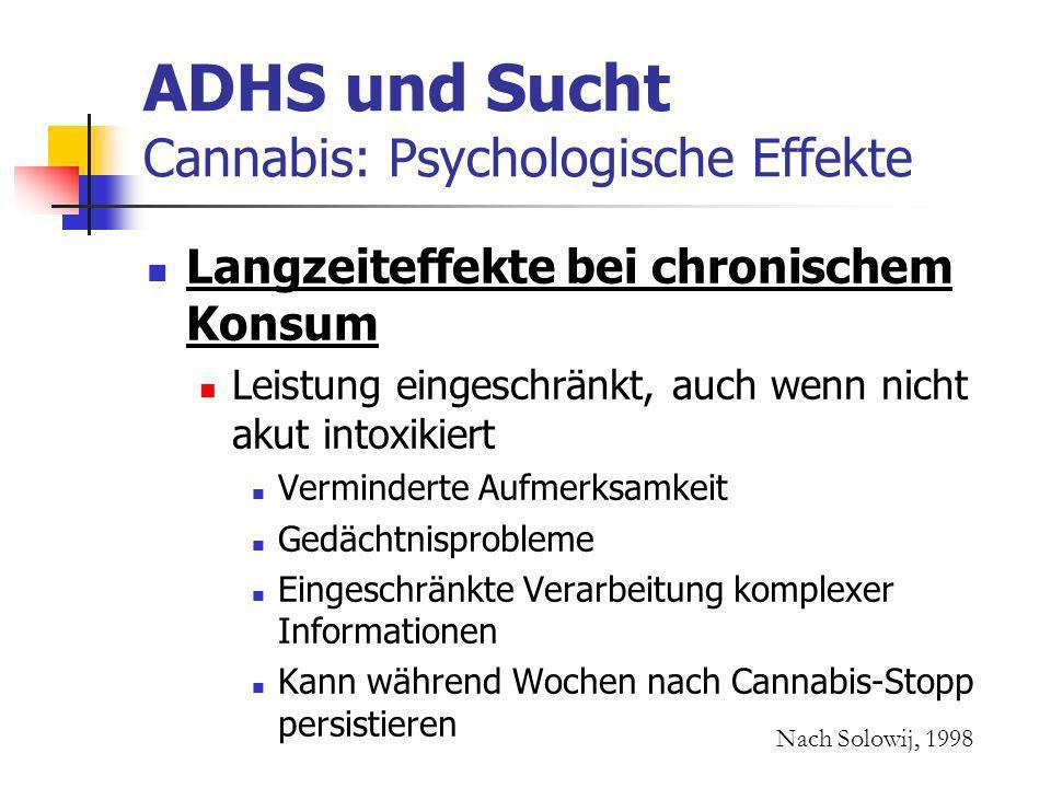 ADHS und Sucht Cannabis: Psychologische Effekte