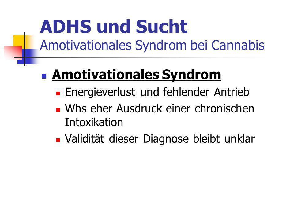 ADHS und Sucht Amotivationales Syndrom bei Cannabis