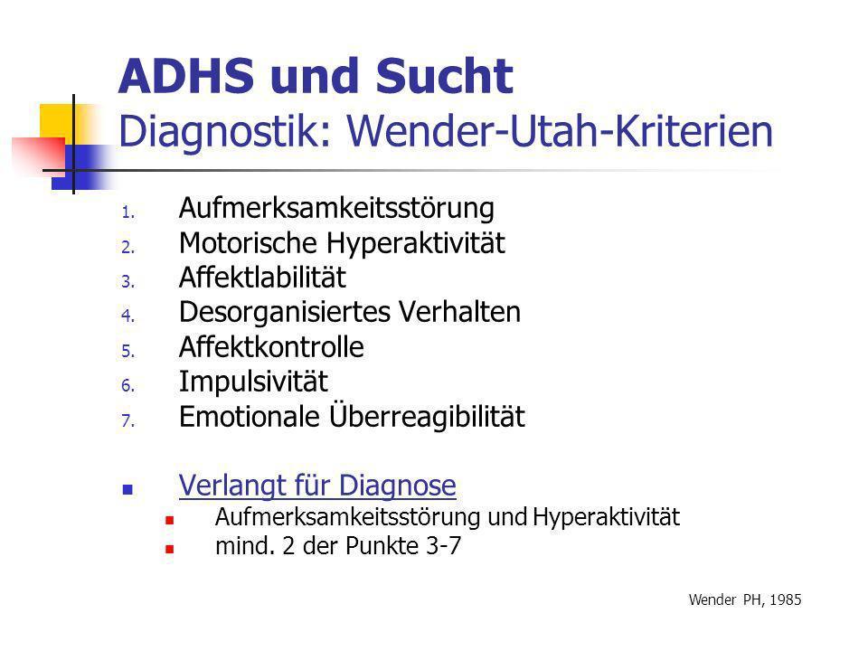 ADHS und Sucht Diagnostik: Wender-Utah-Kriterien