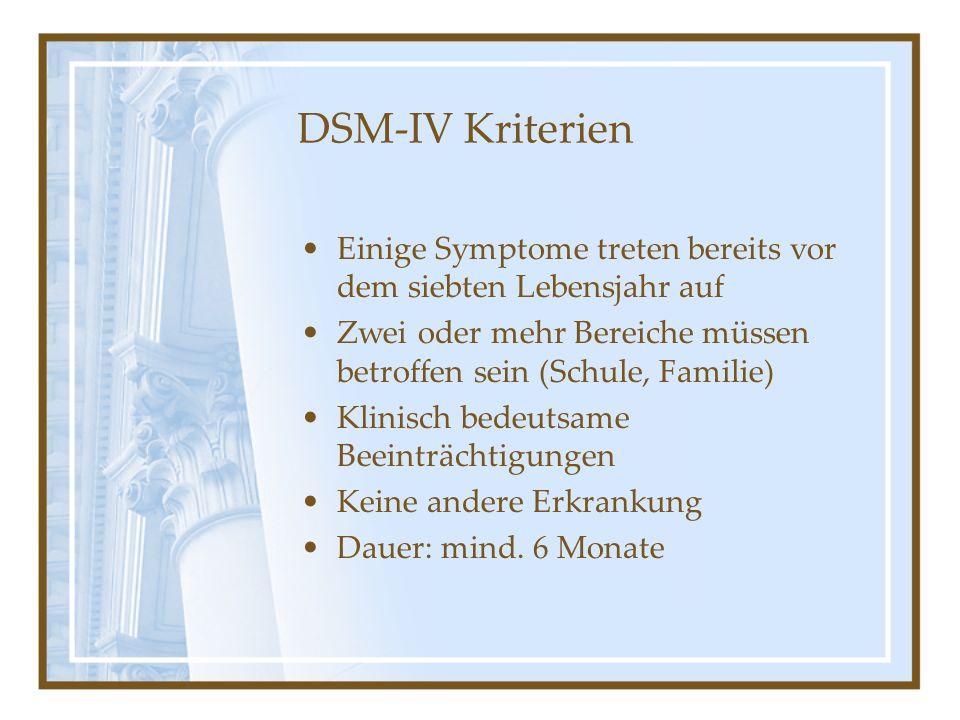 DSM-IV Kriterien Einige Symptome treten bereits vor dem siebten Lebensjahr auf. Zwei oder mehr Bereiche müssen betroffen sein (Schule, Familie)