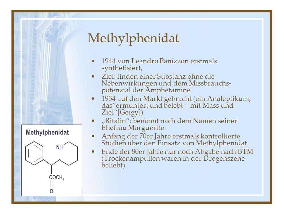 Methylphenidat 1944 von Leandro Panizzon erstmals synthetisiert,