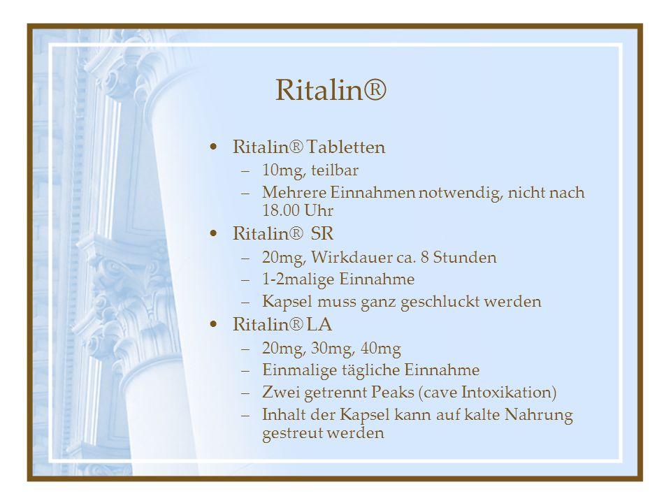 Ritalin® Ritalin® Tabletten Ritalin® SR Ritalin® LA 10mg, teilbar