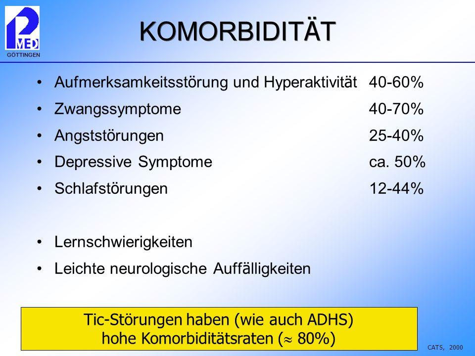 Tic-Störungen haben (wie auch ADHS) hohe Komorbiditätsraten ( 80%)