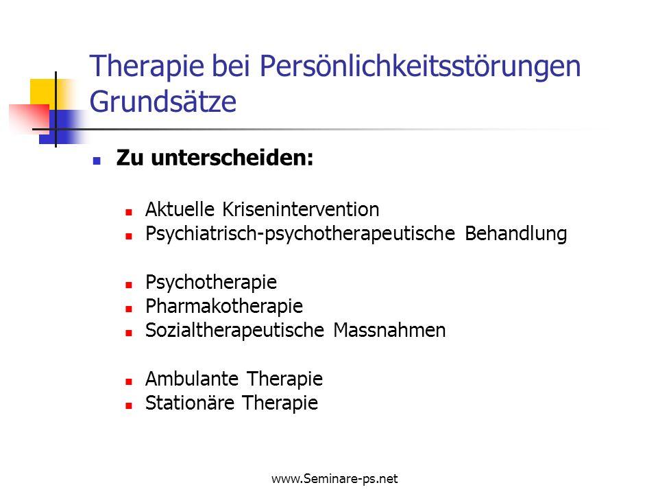 Therapie bei Persönlichkeitsstörungen Grundsätze