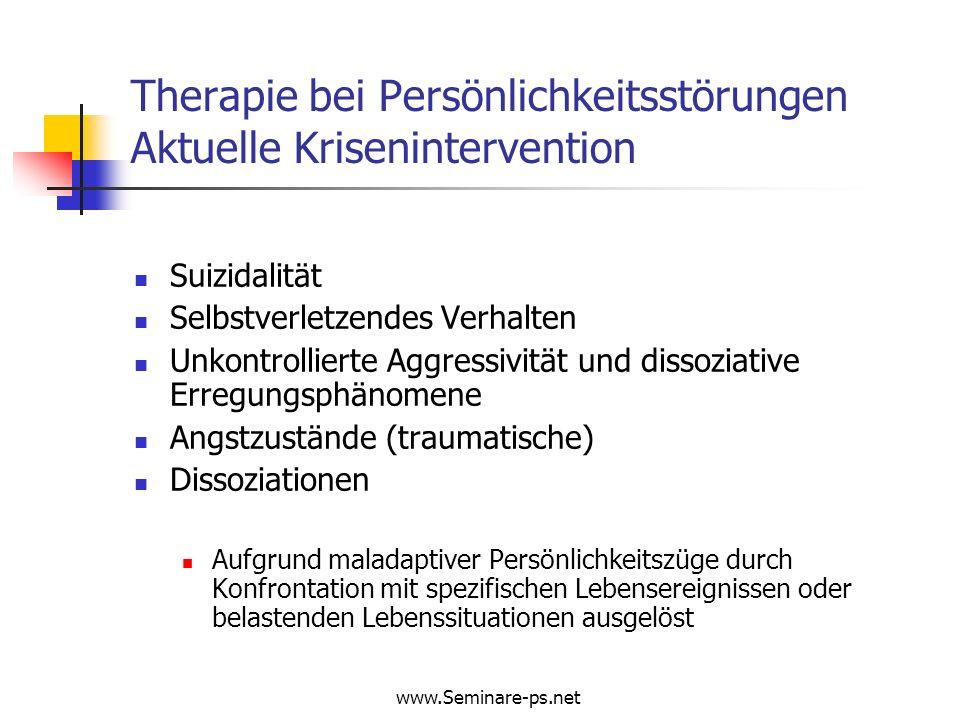 Therapie bei Persönlichkeitsstörungen Aktuelle Krisenintervention