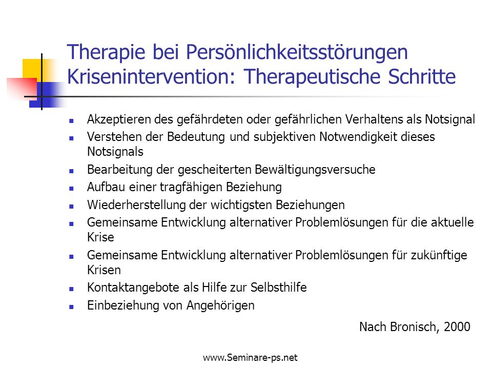 Therapie bei Persönlichkeitsstörungen Krisenintervention: Therapeutische Schritte
