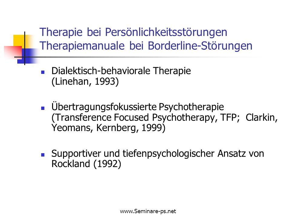 Therapie bei Persönlichkeitsstörungen Therapiemanuale bei Borderline-Störungen